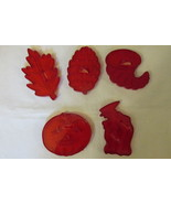 Vintage Fall & Halloween Cookie Cutters - HRM Red Plastic, 1950s / 1960s - $9.99