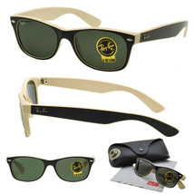 New RAY-BAN New Wayfarer RB 2132 875 Black/Beige w/G-15 Green 55 mm - $127.35