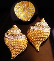 Stunning sea shell earrings - Mermaid sea goddess brooch - Vintage rhine... - $95.00