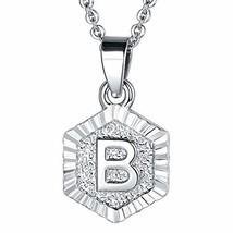 FOCALOOK B Initial Necklace Platinum Plated Tiny Alphabet Charm Letter M... - $10.47