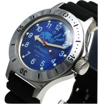 Vostok Amphibian 120656 /2415 Military Russian Diver Watch Scuba Dude Blue - £55.15 GBP