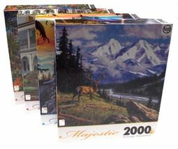 Lot 4 TCG Sure Lox Majestic Jigsaw Puzzles 2000 pc 39x27 Castle Mountain... - $59.99