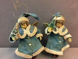 Pair Vintage Plastic Christmas Angel Ornaments with Gilt Wings Blue & Of... - $26.92