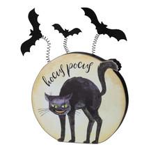 PBK Halloween Decor - Hocus Pocus Cat Bat Chunky Wood Sitt - $15.95