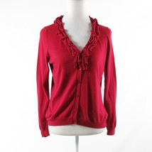 Red cotton blend TALBOTS long sleeve cardigan sweater PM - $11.99