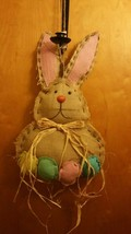 "EASTER Burlap Bunny Rabbit Wall Sign Decor 16"" - $11.30"