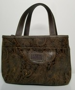 Relic by Fossil Brown Paisley Embossed Tooled Faux Leather Purse Handbag - $19.99