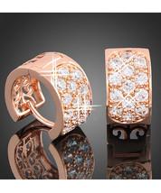 Rose Gold Plated Dazzle Crystal Sparkle Mini Hoop Huggie Earrings Christmas Gift - $15.05