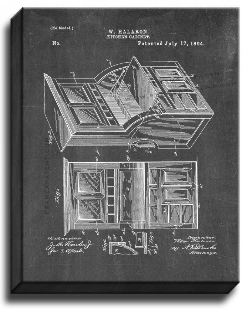 Primary image for Kitchen Cabinet Patent Print Chalkboard on Canvas
