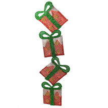 """43"""" Lighted Red Dot Flat Tinsel Stacked Gift Box Yard Decor  - $123.95"""
