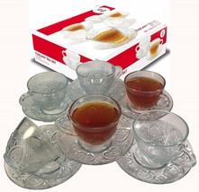 Tea Cup Set 12 Piece Cup & Saucer Set Glass Tea Party Microwave Safe Coffee - $24.72