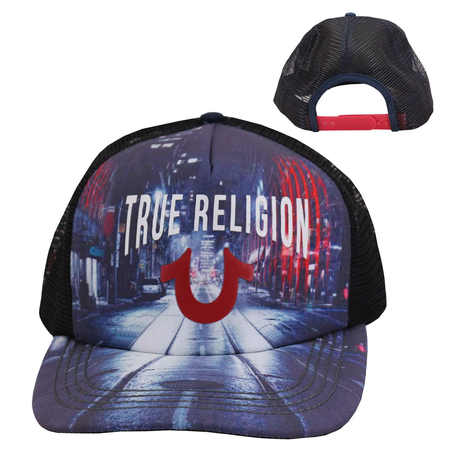 True Religion Men's City Digital Print Logo Cap Sports Snapback Trucker Hat
