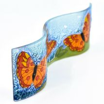Fused Art Glass Red Orange Butterflies Wavy Sun Catcher Handmade Ecuador image 5