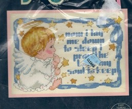 Vintage Jiffy Counted Cross Stitch Kit Sweet Angel Blessing Needlecraft ... - $22.03