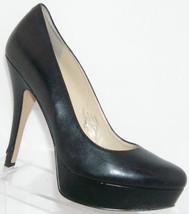 Enzo Angiolini 'Smiles' black leather round toe slip on platform heels 8.5M - $30.53