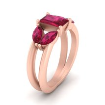 Solid 18k Rose Gold Split Shank Engagement Ring Pink Ruby 5 Stone Promise Ring - $949.99