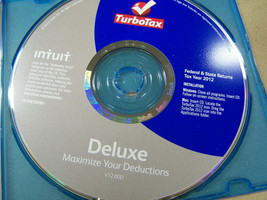 Turbotax tax year 2012  Federal & State returns Deluxe Intuit  v12.00D c... - $14.84