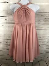 Women's Davids Bridal Sz 14 Pink Bridesmaid/Formal/Homecoming Halter Dress - $28.05