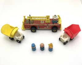 Vtg Fisher Price 1968 Firetruck Dump Truck & People Farmer Driver Toy Lot - $14.85