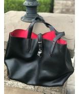 Womens Tutilo New York Tote Black Medium Size Leather Tote Bag Red Stitc... - $59.40