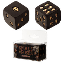 Skull Dice Board Game Set of 2 Dice with Gothic Gold Skulls in Black - $10.49