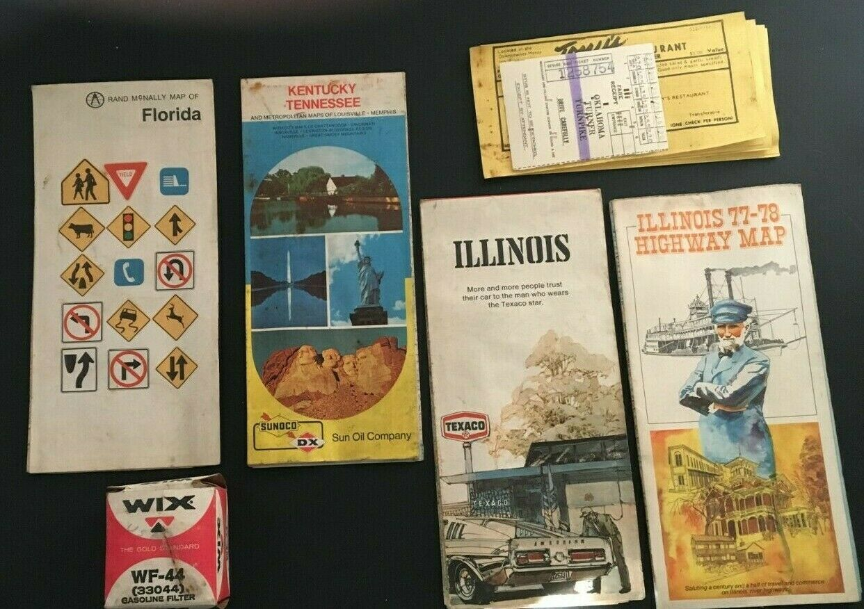 Primary image for Vintage Travel Road Maps Mixed Lot Items Il FL KY Coupons Wix Gasoline Filter