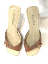 Ralph Lauren Women Shoe Brown Slipper Slip On Sandal All Leather Kitten ... - $25.62