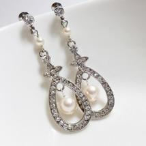 Teardrop Swarovski Earrings - Pearl and Rhinestone - $22.00+