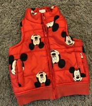Mickey Mouse Disney Baby Red Vest 18-24 months Infant Toddler Zip Puffer - $13.46
