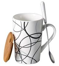 Creative Simple High-capacity Ceramic Cup, Messy Lines And Bamboo Cover - $21.26