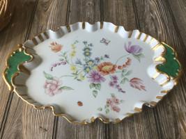 "Vintage Handpainted 15"" x 11""  China Platter w/ Gold Trim Flower Theme - $25.72"