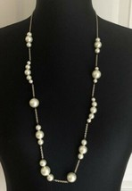 J. Crew Faux Pearl Gold Tone Chain Long Necklace - $11.87
