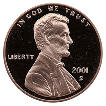 2001-S Lincoln Memorial Cent Penny Gem Proof US Mint Coin Uncirculated UNC - $7.99