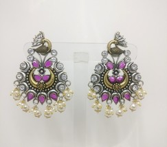 Silver Oxidized AD CZ Earrings Jewelry Indian Fashion New Version Ethnic... - $31.25