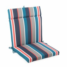 "Blue Coral Stripe Outdoor Patio Chair Cushion Pad Hinged Seat Back 44"" L... - $58.90"