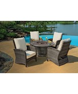 5-Piece Wicker Patio Chair Cast Aluminum Gas Fire Pit Outdoor Furniture Set - $3,468.70