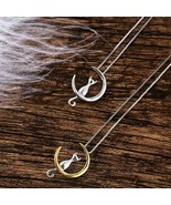 Cat Moon Pendant Necklace Charm Silver Gold Link Chain Necklace Womens C... - $5.62