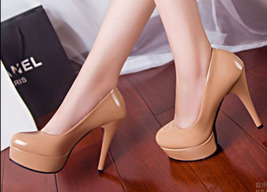 84h045 elegant candy color thick sole pump, patent leather Size 4-8.5, apricot - $42.80