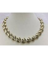 Necklace Collar Choker Swirl Loops Interlocking Gold Tone Metal Vintage ... - $12.22