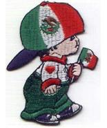 Mexico Boy Flag Embroidered Iron-On Patch - 2.3x3 inch - $6.88