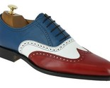 Men s handmade multi color leather shoes wingtip multi color dress leather shoes 3 thumb155 crop