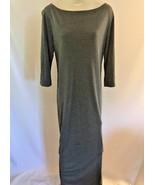 "Finity Naturals Gray Maxi Dress Size Medium 3/4 Sleeves Side Slits 48"" L... - $28.49"