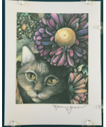 Cat Art Notecard - Gray Cat with Purple Asters - $4.50