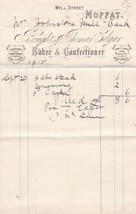 Thomas Edgar Well Street Moffat 1915 Baker & Confectioner Goods Receipt ... - $7.59