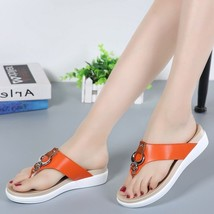 Summer Beach Flat Sandals for Women Leather Casual Strap Metal Ladies Fl... - $28.04+