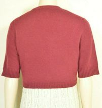 Neiman Marcus sweater M NWT red 100% cashmere shrug bolero cropped $195 new image 3