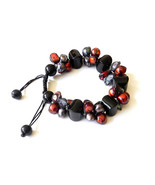 Black Onyx with Red and Black Blister Pearls Bracelet, adjustable - $150.00