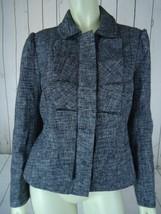 Ann Taylor Loft Petites Blazer 8P Black White Tweedlike Poly New w/o Tag Zipper - $54.65