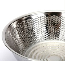 "Kitchen Flower Stainless Steel Embossing Rice Washing Bowl Basket Basin (11.8"") image 2"