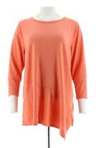 H Halston Pullover Knit Top Asymmetric Hem Hthr Soft Coral L NEW A288594 - $24.18